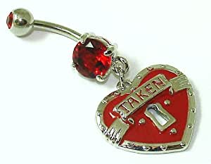 Belly Bars - Pierced & Modified - Body Jewellery - Dangle Navel Bar - Taken Heart Padlock