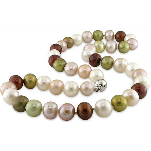 New York Pearls Sterling Silver Multi-color FW Pearl Necklace (9-10 mm)