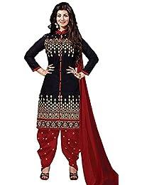 Surti Funda Black Cotton Printed Dress Matrial(black_free Size)