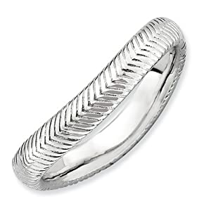IceCarats Designer Jewelry Size 6 Sterling Silver Stackable Expressions Polished Rhodium-Plate Wave Ring