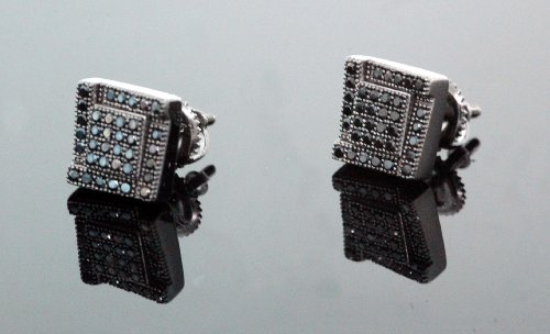 .925 Sterling Silver Black Square Black Onyx Crystal Micro Pave Unisex Mens Stud Earrings 8mm
