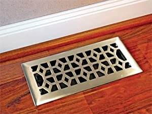 "Heavy-duty Plated Steel Floor Register/heating Vent 4""x10"" Brushed Nickel Finish"