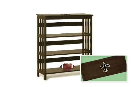 New Espresso / Cappuccino Finish Book Shelf Sofa Table featuring New Orleans Saints NFL Team Logo at Amazon.com