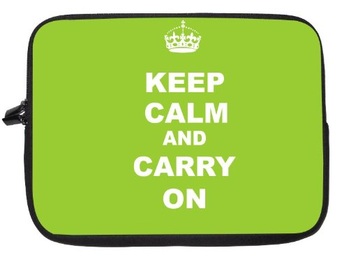 Keep Calm and Carry On - Lime Green Laptop Sleeve - Note Book sleeve - Apple iPad - Apple iPad 2 - Android sleeve - can be used for for Fujitsu, Kindle, Samsung, Dell, Acer, ASUS Eee PC, Gateway, HP, Sony, Compaq, IBM, Mac, Sharp, Toshiba models - Unisex - Ideal gift for all occassions!