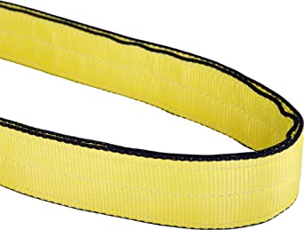Mazzella EN2 Edgeguard Nylon Web Sling, Endless, Yellow, 2 Ply, Vertical Load Capacity