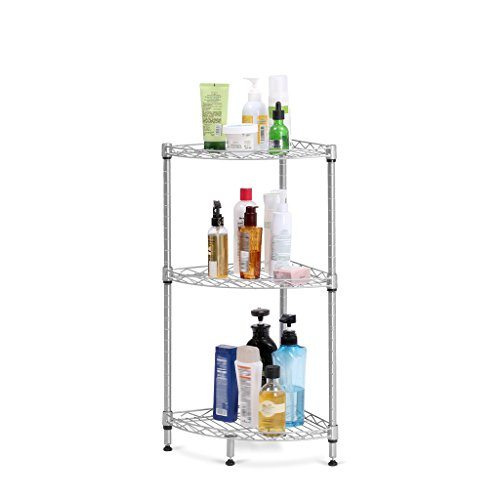 LANGRIA 3-Tier Wire Mesh Corner Shelf, Free Standing Storage Rack for Living Room Bathroom Kitchen Office Garage, 66lbs Weight Capacity, 11.8