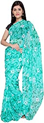 S R Couture Women's Georgette Saree with Blouse Piece (Turquoise)