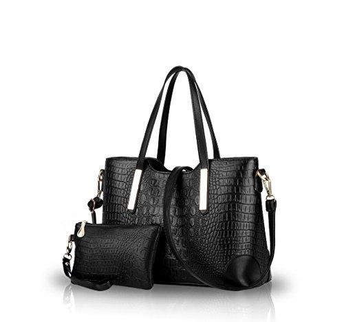 Nicole&Doris 2016 neue Art und Weise Krokodilmusterhandtaschen Schulter diagonal Tasche casual bag big bag Damen Taschen(Black)