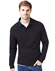 Pure Cotton Polo Collar Sweatshirt