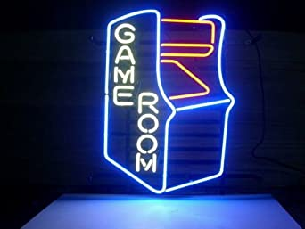 New video game room real glass neon light sign beer bar for Room decor neon signs