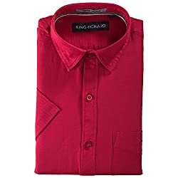 King Richard Men's Casual Shirt (KR_HS_9_Red,Red,42)