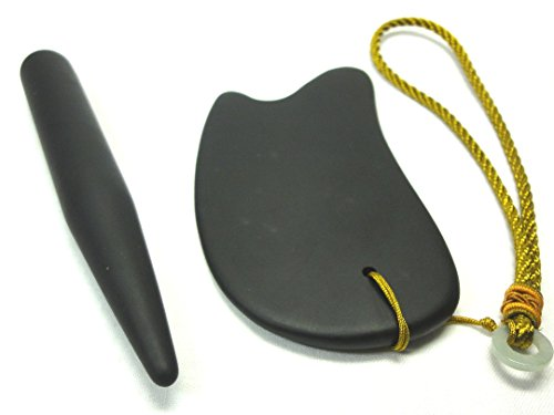 天然石かっさプレート & スティック型マッサージ棒 〔2点ベン石製・マットブラック〕