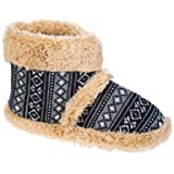 Brand New Style Mens Coolers Snugg Boot Fluffy Collar Slipper Boot In Fairisle Print Design