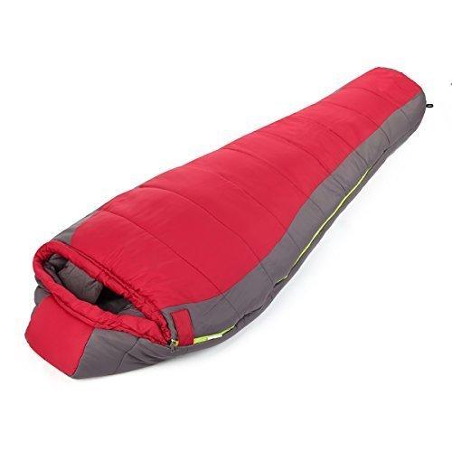 OUTAD Sacco a Pelo Impermeabile in Pongee Poli 240T, Sacco a Pelo Portatile 205 x 85 x 55 cm (rosso e grigio, 1,8 kg)
