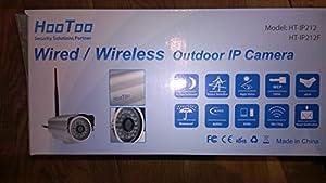 HooToo HT-IP212 Hochwertige Wireless und Wasserdichte Outdoor IP Kamera Schwarz CMOS M-JPEG über iPhone & Internet * Alarm-Mail * Bewegungserkennung * IR Nachtsicht * Überwachung Detect Monitor