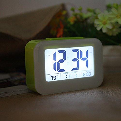 Anself LED Digital Wecker Wiederholung schlummer Licht-aktivierten Sensor-Hintergrundbeleuchtung Zeit Datum Temperaturanzeige Alarm grün