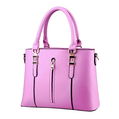 koson-man-womens-pu-leather-vintage-zipper-tote-bags-top-handle-handbagpink