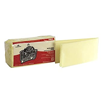 "Brawny Industrial 29624 Yellow Quarter Fold Dusting Cloth, 24"" Length x 24"" Width  (4 Packs of 50)"