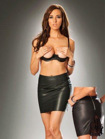 Black Leather Lace Pencil Mini Skirt - LARGE Image