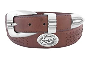 NCAA Florida Gators Full Grain Leather Braided Concho Belt by ZEP-PRO