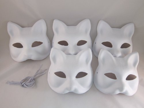 Hope you're painting fun Tick Nick everyone! Set of 5 / Costume fancy dress cosplay tool DIY handmade mask mask mask summer festival white fox Mask deals (japan import)
