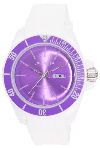 Jet Set J83491-16 - Reloj analógico de cuarzo unisex con correa de caucho, color blanco