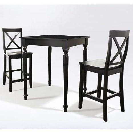 Crosley 3-Piece Pub Dining Set with Turned Leg and X-Back Stools, Black Finish