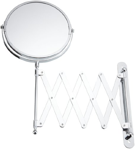 Exclusive Telescopic Cosmetic Wall Mirror, chrome, 3-x magnification