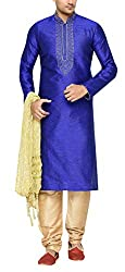 Indian Poshakh Mens Brocade Sherwani (1215_40, 40, Blue and Beige)