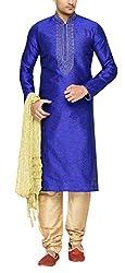Indian Poshakh Men's Brocade Sherwani (1215_40, 40, Blue and Beige)
