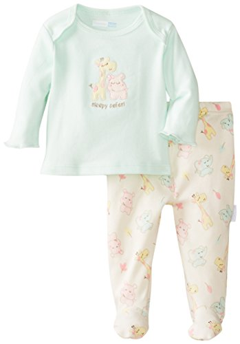 Vitamins Baby Baby-Girls Newborn Animals 2 Piece Footed Pajama Set, Green, 3 Months front-1071061