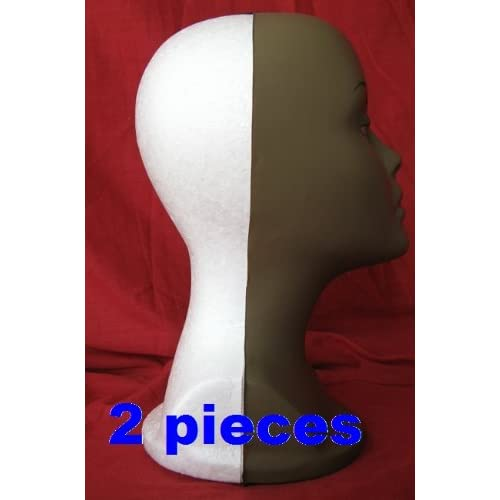 2 pieces light weight Long Tall Styrofoam female MANNEQUIN Head FOAM with a dark brown mask