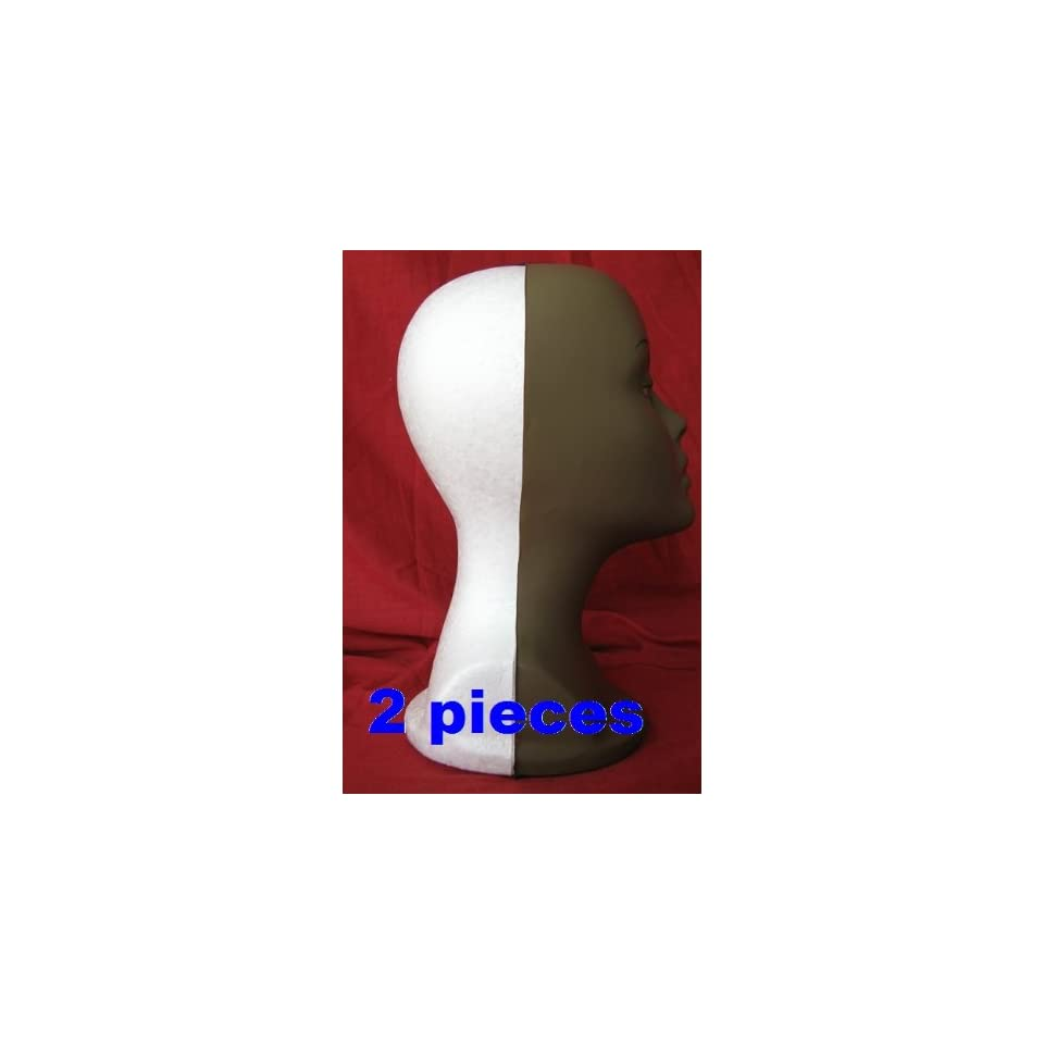 2 pieces light weight Long Tall Styrofoam female MANNEQUIN Head FOAM with a dark brown mask