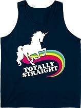 Totally Straight Funny Rainbow Unicorn - Mens Tank Top - Navy - Medium