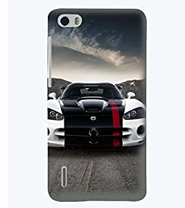 Printvisa Premium Back Cover Stylish Tricoloured Convertible Car Design For Huawei Honor 6