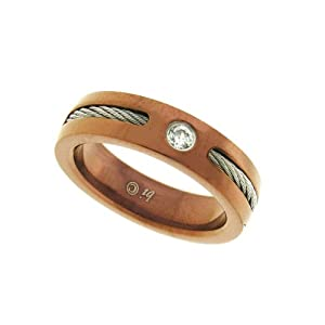 Men's Stainless Steel Cable Ring with Cubic Zirconia Accent and Brown Plating, Size 12