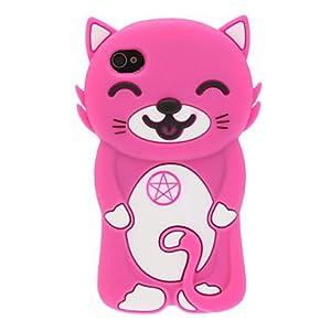 3D Lächeln Katze-Silikon Soft Case für iPhone 4/4S (verschiedene Farben) ( Farbe : Rosa )