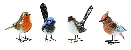 Set of 4 Resin Enameled Bird Figurines w/ Metal Feet (Resin Wren compare prices)