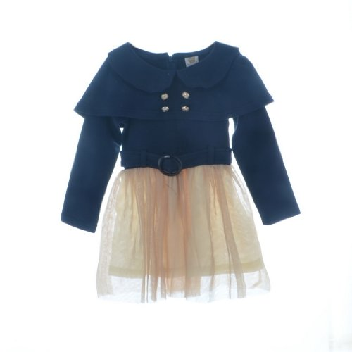 Bhl Girls Long Sleeve Dress 2-7 Years (6-7 Years, Navy) back-222806