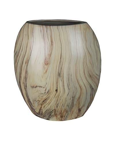 Privilege Tall Flat Marble-Finish Vase, Brown
