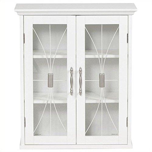 Elegant Home Fashions Delaney White Wall Cabinet with Two Doors (Cabinet With Glass Doors White compare prices)