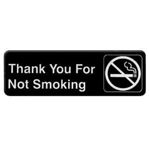 """Thunder Group Plis9318Bk """"Thank You For Not Smoking"""" Information Sign With Symbols, 9 By 3-Inch"""