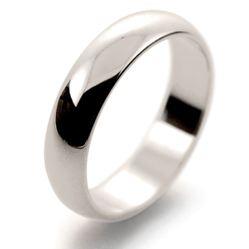 18ct White Gold Wedding Ring Medium Weight D Shape - 5mm