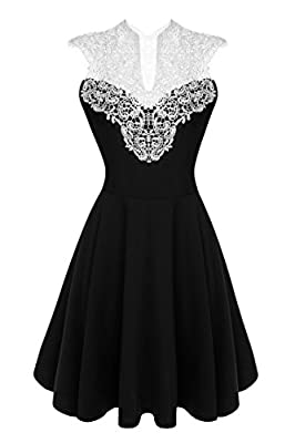 ACEVOG Women's Lace V Neck Sleeveless Sexy Cocktail Pleated Evening Party Dress