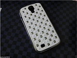 IMPRUE NEW WHITE LEATHER TEXTURE WITH STUDS LOOK ON BACK CASE COVER FOR GALAXY S4