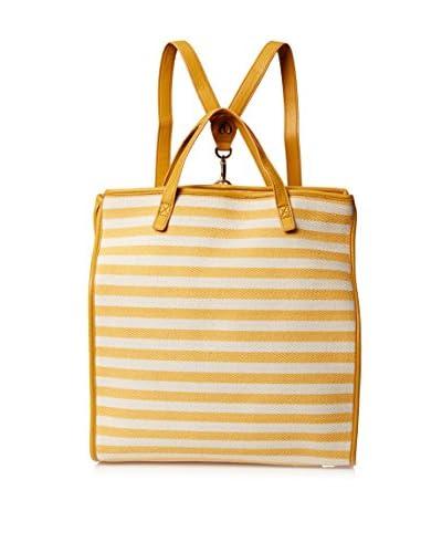 Charlotte Ronson Women's Herringbone Stripe Convertible Backpack Tote, Yellow