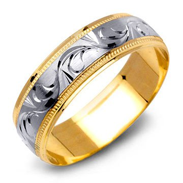 Two-Tone 14K Gold Diamond Cut Design Wedding Band Ring