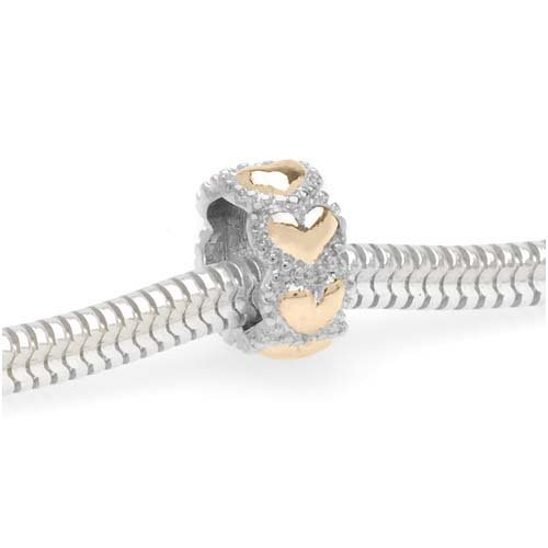 22K Gold Plated Silver Tone Beaded Hearts Spacer Bead Fits Pandora (1)