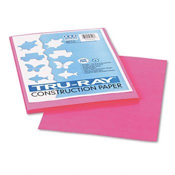 "Recycled Fade-Resistant Construction Paper, 76#, 9""x12"", Shocking Pink, 50/Pack PAC103013"
