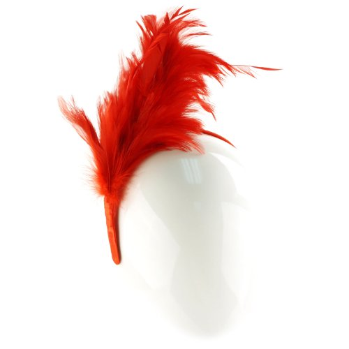 1920s Flapper Feathers Handmade Headband Fascinator Millinery Cocktail Hat Red